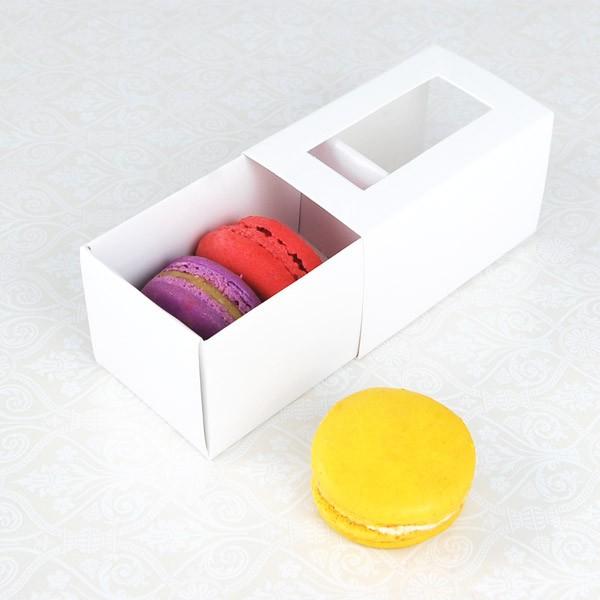 3 Macaron White Window Boxes($1.55/pc x 25 units)