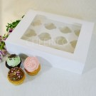 12 White  Cupcake Window Box ($2.70/pc x 25 units)
