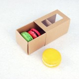 3 Macaroon Window Kraft Brown Boxes($1.55/pc x 25 units)